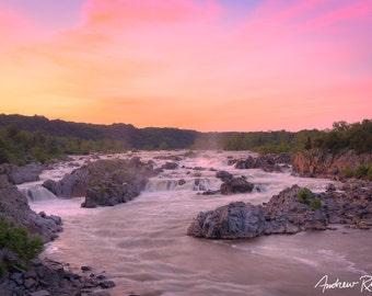 Great Falls Summer Sunset - Great Falls Park Virginia - Potomac River - National Park Service - Waterfall - Washington DC - Mather Gorge