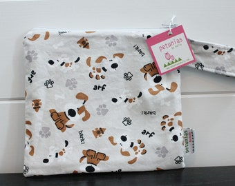 a60dc9aff1 wetbag wet bag The ICKY Bag petite grey brown puppy modern baby gift  waterproof gym sports cloth diaper pouch zipper handle baby gift