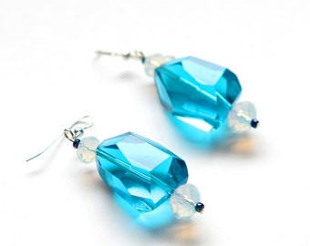 Electric Blue Earrings with Opalescent Czech Glass Beads, Blue Earrings, Boho Earrings, Clip Ons available