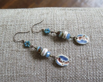 boho earrings, blue and brown earrings, festival chic earrings, long earrings, rustic earrings, bohemian earring, blue jewelry, artisan made