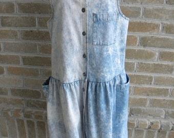 80's Vintage Acid Wash Denim Jumper by Disorderly Conduct / Made in USA / Acid Wash Jumper / Denim Acid Wash Dress