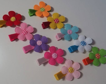 Spring daisy flower hair clip set, Felt flower and gingham center hair clips
