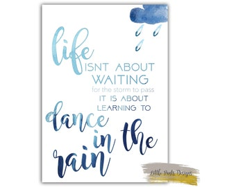 Dance in the Rain Blue Watercolour Downloadable Print Graphic Digital Decor Print Nursery elegant
