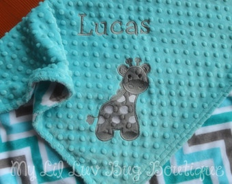 Baby blanket Personalized with name- giraffe baby blanket topaz and grey chevron baby- large stroller blanket toddler