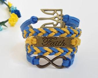 Ukraine symbol bracelet Trident bracelet Faith infinity bracelet Ukraine flag bracelet Ukraine jewelry Ukraine gift Blue yellow bracelet
