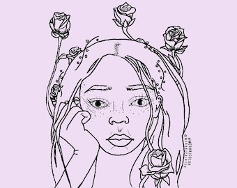 "Coloring Page ""Rose Beauty"" -Digital Download"