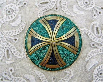 Vintage Sterling Silver Taxco Mexico Pin Turquoise Lapis Mosaic 925 Gold Tone Signed Vintage Costume Jewelry Collectible Pin