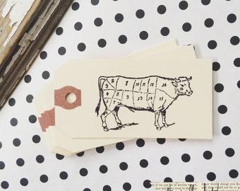 Cow Tag - 10 cow butcher cut manila mini gift tag - Hand stamped Cow tag - Cow Gift Tag - Gift Tag - Mini gift tag - Butcher cut Cow - Farm