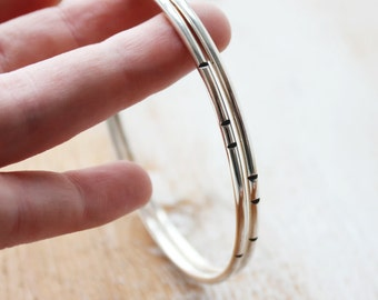 Carved Bangle Set / notched line design / stacking bracelets / minimalist metalwork jewelry