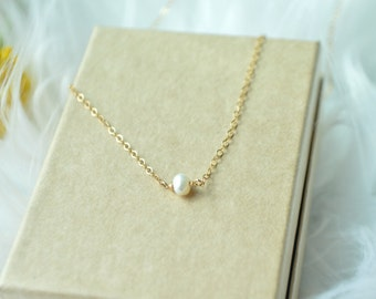 tiny pearl necklace, pearl gold filled necklace, tiny gold necklace, minimalist gold necklace, bridesmaid necklaces, layering pearl necklace