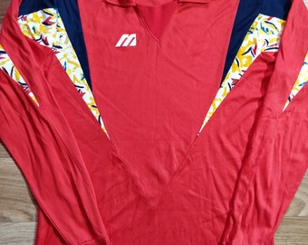 Mizuno Vintage Mens Sweatshirt Long Sleeve Jersey Shirt Cotton Modal Red 2XL