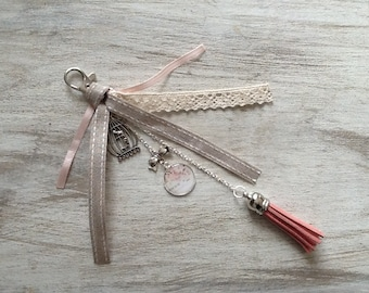 Jewelry bag/key chain style ecru, linen and cream