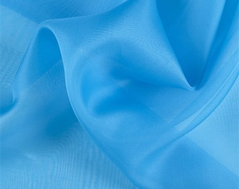 Turquoise Silk Organza, Fabric By The Yard