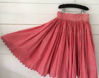 Red Crisscross Circle Skirt Vintage Hungarian Folk Skirt  with Hand Embroidered Scalloped Hem