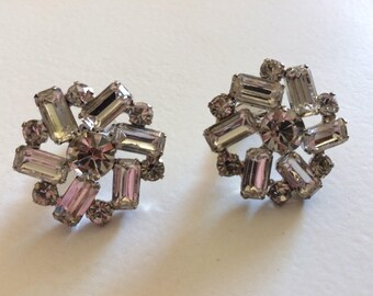 Stunning Vintage Rhinestone Clip On Earrings