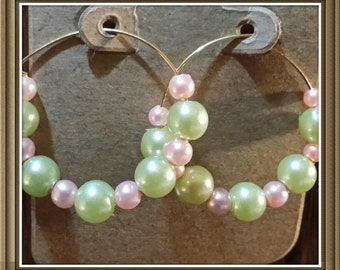 Soft Green and Pink faux Pearl Hoops