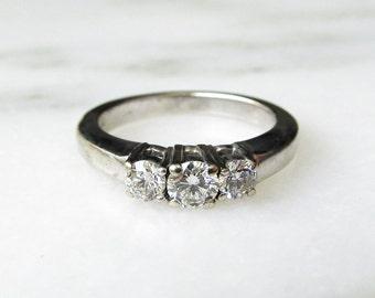 14K White Gold 3 Round Diamond Wedding Ring