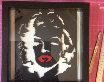 Marilyn Monroe papercut - framed