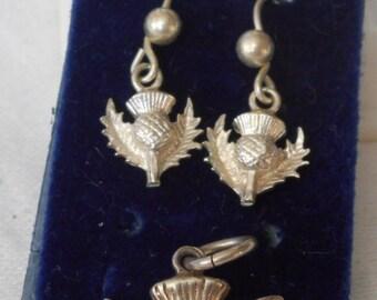 Silver Vintage Scottish Thistle Flower Pierced Earrings & Pendant Charm Jewelry