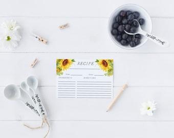 Floral Recipe Card Printable Kitchen Recipe Card Bridal Shower Recipe Card Flower Recipe Card Yellow Sunflower Wedding Shower Recipe
