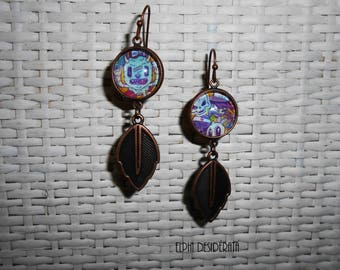 Earrings with cabochon, Urban street Tribal, ethnic retro style original kawaii