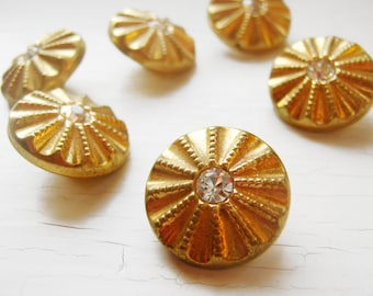 """Six 3/4""""  Gold Metal & Rhinestone Vintage Glass Buttons"""