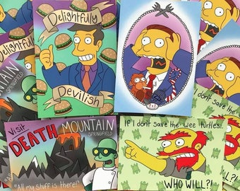 Les cartes postales de Simpsons-pack de 4 cartes postales de Simpsons