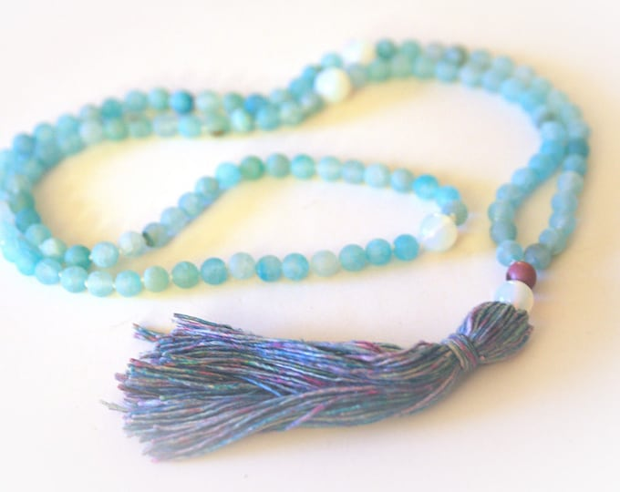 Mala Tassel Necklace. 108 Beads. Boho Yoga Jewelry. Meditation Beads. Blue Agate Gemstones & Handmade Silk Tassel.