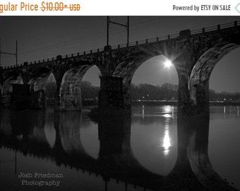 SALE 20% Off Railroad Bridge at Night, Black and White Photograph, Moon, Reflection, Arches, Yardley, Bucks County, Pennsylvania, Art Print,