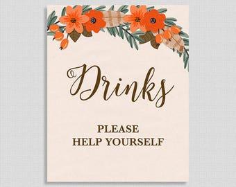 Drink Shower Table Sign, Fall Wreath Shower Sign, Beverage Sign, Autumn, Boho,  INSTANT PRINTABLE