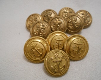 Lot of 11 Vintage Buttons with Anchor - Waterbury Button Co
