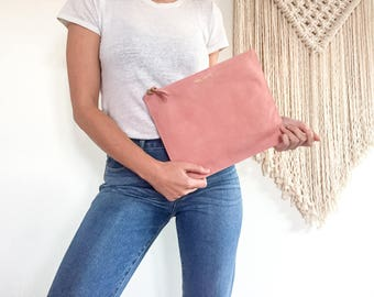 Suede Clutch Pink | Blush Pink | Suede | Clutch | Oversized Clutch | iPad Cover | Going out bag | Minimal Clutch | Stylish Clutch