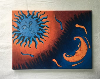 Sun and Moon Painting, Opposite Twins, Celestial Painting, Acrylic Paintings, Original Painting, Sarah Bankston