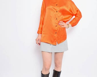 Vintage 90's Orange Silk Shirt / Batwing Orange Button Blouse - Size Small