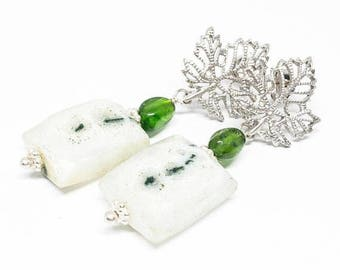 25% OFF Solar Quartz and Chrome Diopside Gemstone . Sterling Silver Dangle Drop Earrings . White, Vibrant Green Earrings . Free Shipping . E