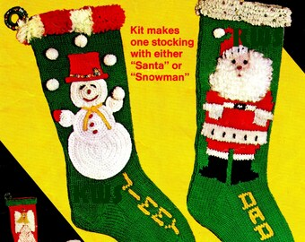 "Knit Christmas ""STOCKING"" Santa & Snowman - PDF Pattern"