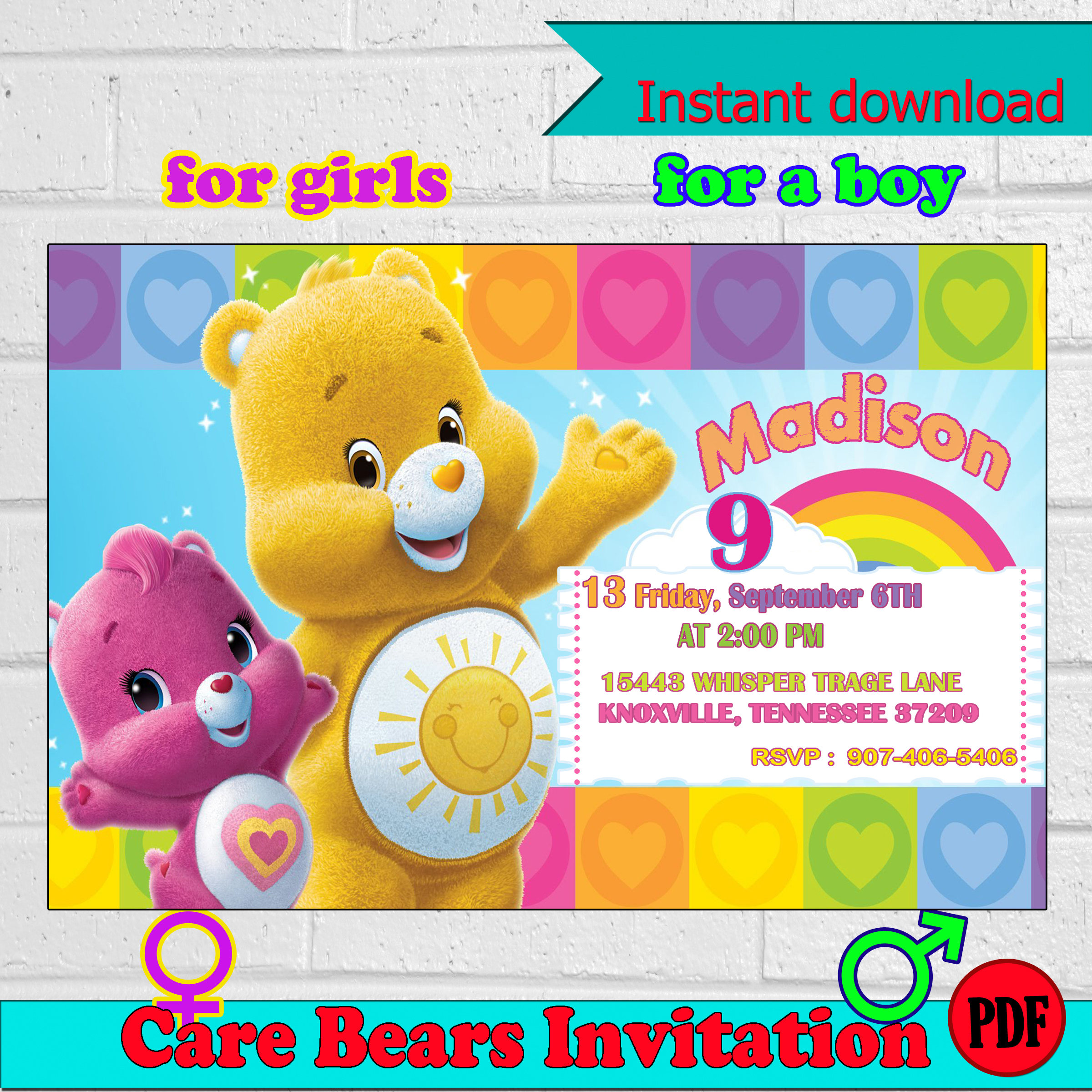 Care bears invitation care bears birthday party invitation zoom monicamarmolfo Choice Image