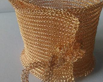 Hand-made copper wire crochet Cuff Bracelet gold