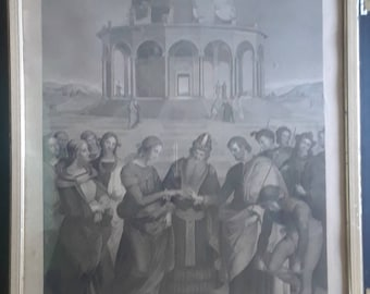 Vintage print The Marriage of the Virgin by Raphael