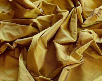 """Iridescent Gold Violet Dupioni Silk, 100% Silk Fabric, 44"""" Wide, By The Yard (S-176)"""