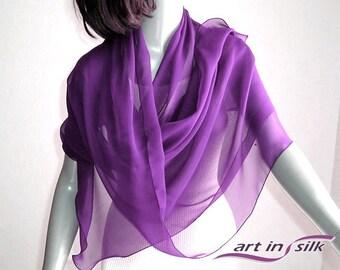 "Purple Violet Shawl Plum Chiffon Coverup Scarf Wrap, Sheer  Pure Silk Chiffon, 20x64"" Petite Small Medium, Artisan Handmade,  Artinsilk."