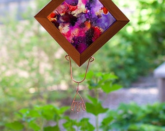 Wind Chime Bright Alcohol Ink Reverse Painted Outdoor Windchime