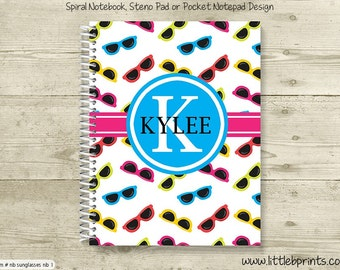 Sunglasses Personalized Spiral Notebook Back to School Notebook Pink Blue & Yellow