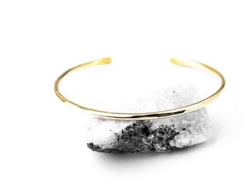 Brass Hammered Thin Cuff Bracelet