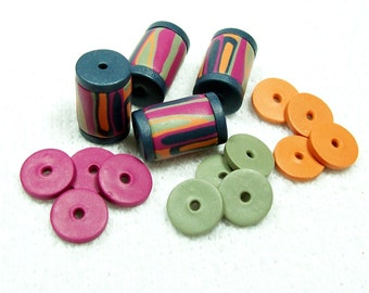 NOW ON SALE Tube Beads with Spacers - Handmade from Polymer Clay