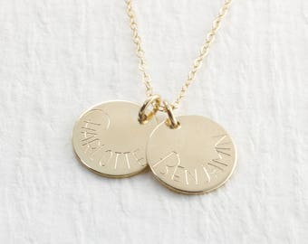 14k Gold Personalized Name Necklace Engraved Solid Gold Children's Name Necklace Engraved Jewelry Mother's Gift Christmas Gift For Her