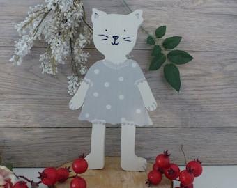 Vintage wooden decorative cat