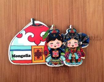 Cute Mongolian couple magnet