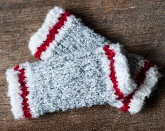 Lumberjack styled knit baby leg warmers!