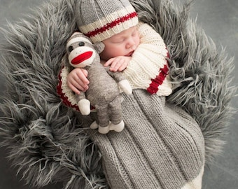 Hand Knitted Newborn Baby Sock Monkey Snuggle Sack,Cocoon, Papoose, Cocoon and Hat, All colors available. Photo Prop.